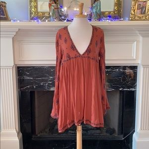 Free People rust embroidered tunic